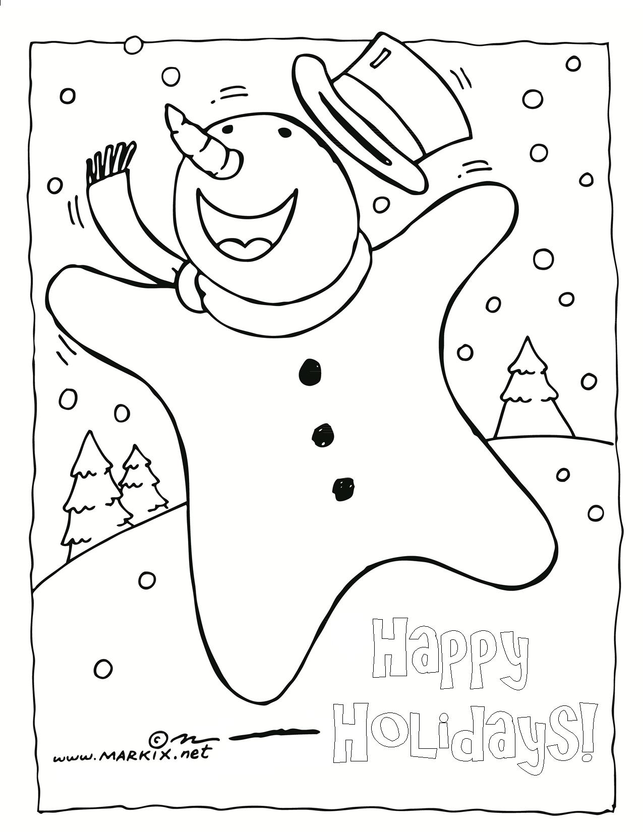 Happy Snowman Coloring Page Coloring Page Merry Coloring Pages Snowman