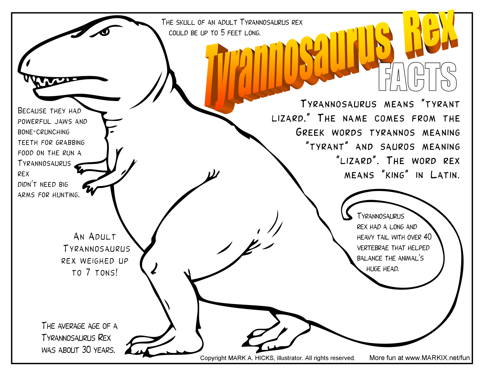 tyrannosaurus rex fact filled printable coloring page