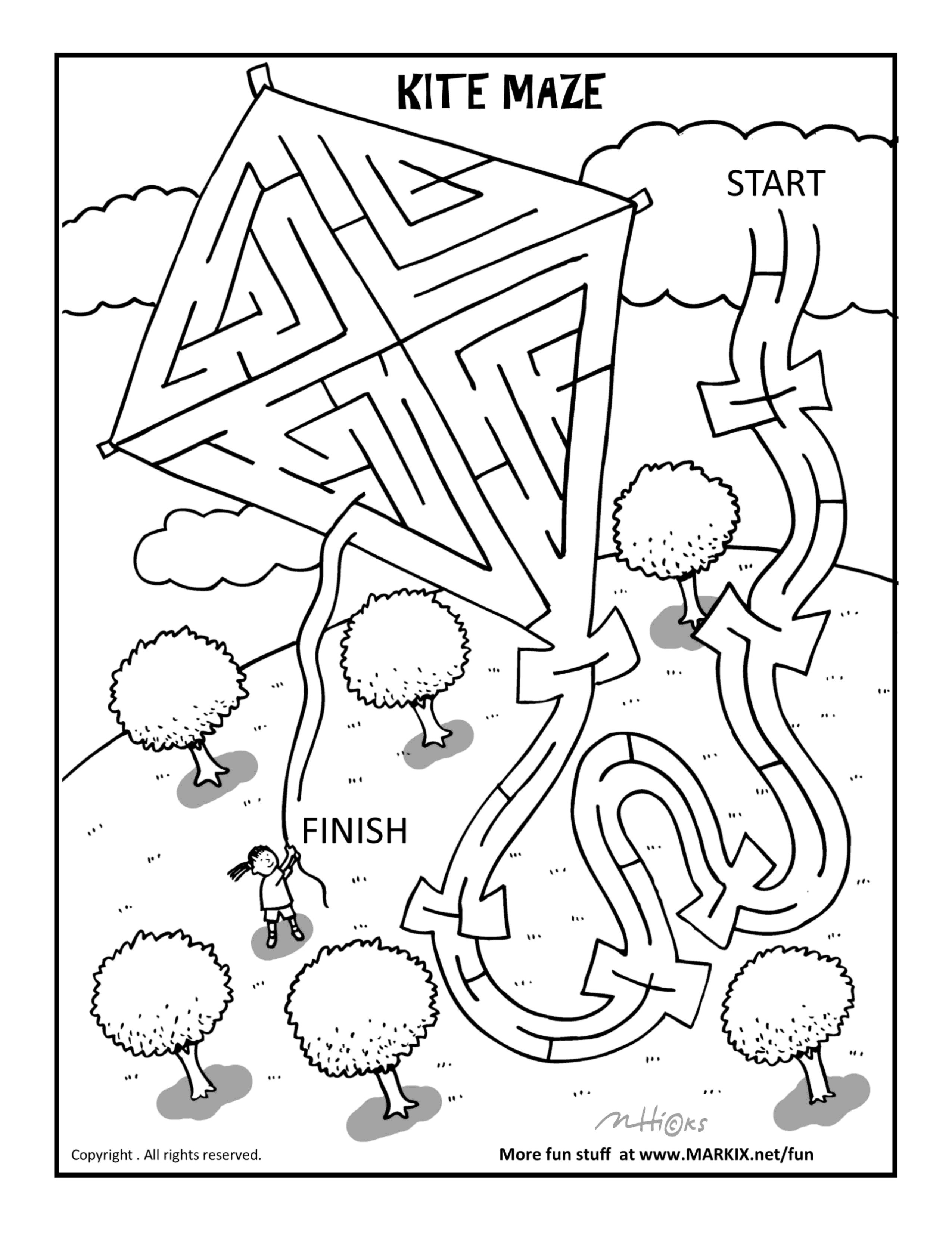 kite maze and coloring page for kids 5 and up - Coloring Activity For Kids