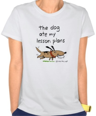 The Dog Ate My Lesson plans, brown dog shirt